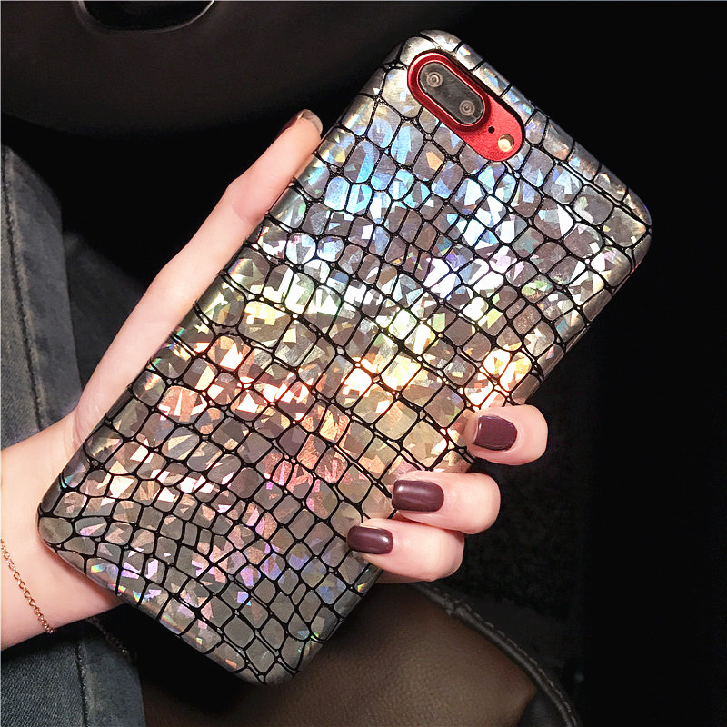 Fashion Snake Scales Glitter Sequins <font><b>Case</b></font> For <font><b>iphone</b></font> 7 6 6s Plus Cover Slim Soft PU <font><b>Leather</b></font> Phone <font><b>Cases</b></font> Laser Shinning Shell New image
