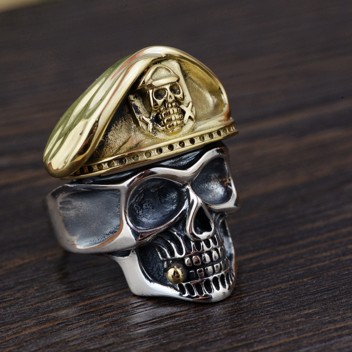 Authentic 925 Sterling Silver Skull Head Mens Rings Biker With Cap Vintage Punk Rock Male Jewelry Gothic Skeleton