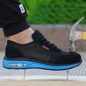 Men's sneakers Air cushion safety shoes men's Lightweight steel toe anti-smashing piercing work Single mesh Sports Shoes NNT-17