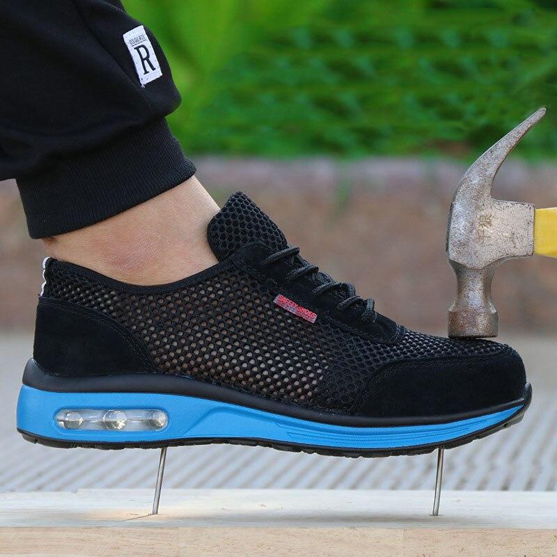 Protetora sapatos de AR respirável sapatos Leves dos homens biqueira de aço de segurança sapatos anti-esmagamento piercing trabalho Único tênis de malha