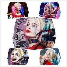 Super vilão Cosplay Harley Quinn 3D Algodão moletom com capuz Homens e mulheres de roupas Anime traje Role playing traje O Novo