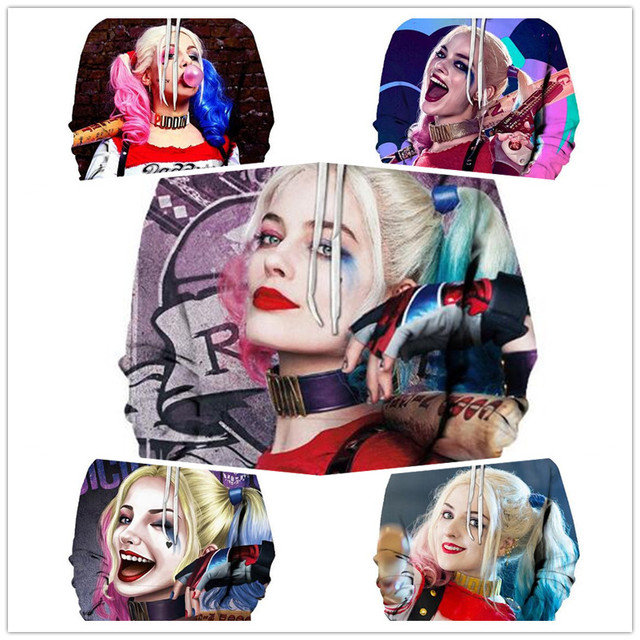Super villain Cosplay Harley Quinn 3D Cotton hoodie Men and women clothing Anime costume Role playing costume The New