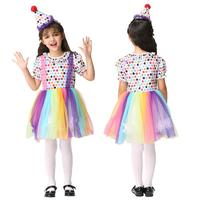 New Year Halloween Girls Dress Colorful Mesh Rainbow Party Dress With Hat Kids Children Clown Costumes