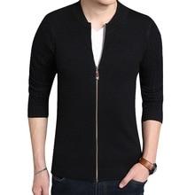 Oeak Autumn Men's Round Neck Zipper Sweatercoat Solid Color Sweaters Knitwear Warm Knitted Jacket Cardigans Men Winter Clothing цена