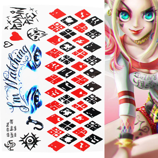 Us 058 Wodoodporna Tymczasowa Naklejka Tatuaż Samobójstwo Squad Harley Quinn Joker Clown Fałszywy Tatuaż Flash Tatuaż Dla Mężczyzn Dziewczyna