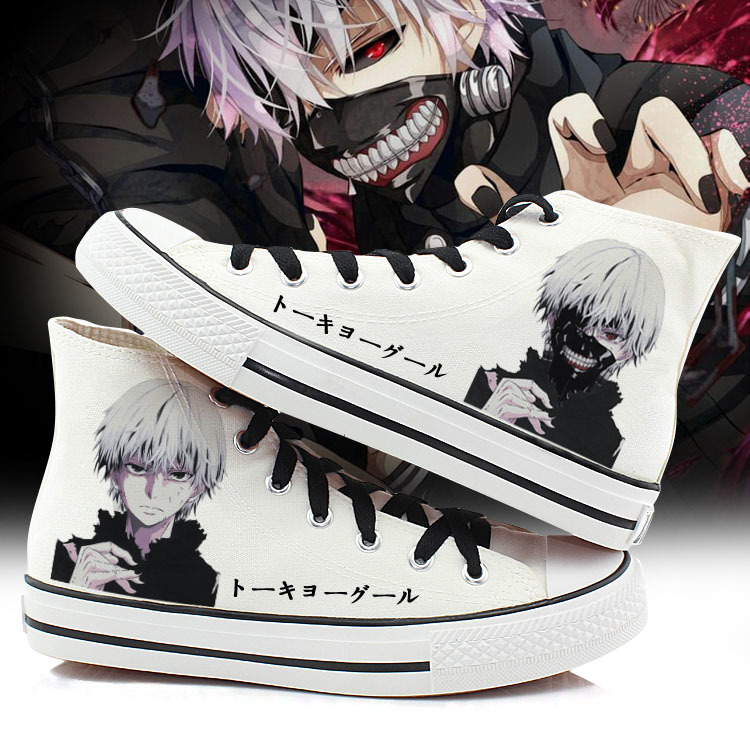 купить 2018 Women Tokyo Ghoul Cosplay Canvas Shoes Casual Hand Painted High-Top Shoes size 43 Kaneki Ken Student style Sneakers A50908 по цене 1631.94 рублей
