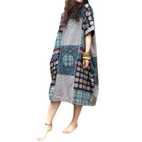 Fashion Womens Summer Boho Cotton Linen Floral Short Sleeve Baggy Long Shirt Party Casual Kaftan Dress