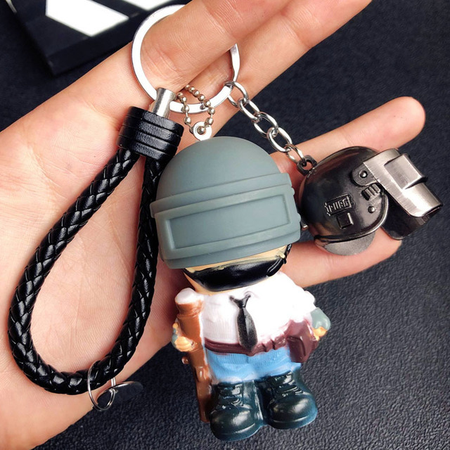 Game PUBG Playerunknown's Battlegrounds Cosplay Accessories Keychain Cartoon Warrior Level 3 Helmet Weapons Armor Metal key ring