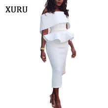 XURU New Arrivals Elegant Party Dress For Women Off Shoulder Ruffles Pencil Dresses White Black Blue Pink Red Bodycon