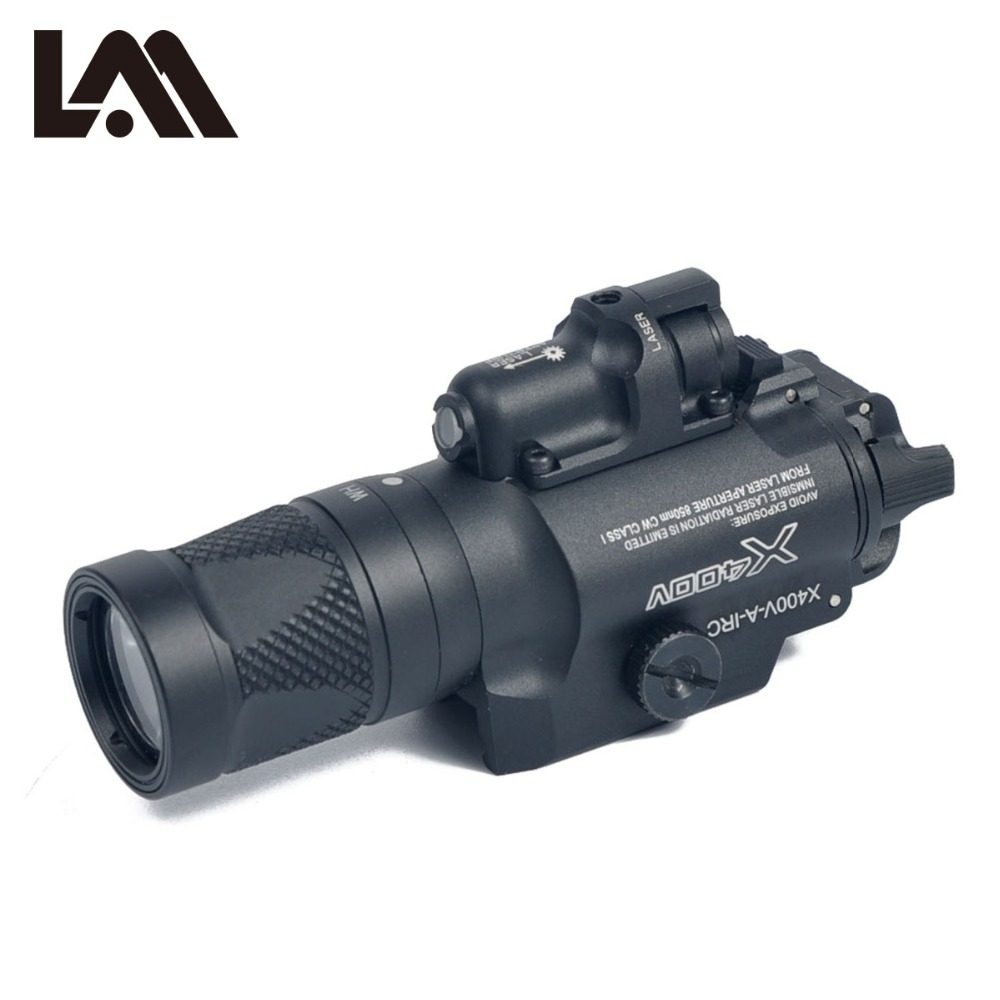 LAMBUL Tactical X400V Pistol Light Combo Red Laser Constant / Momentary / Strobe Output Weapon Rifle Gun Flashlight peq15 la5 airsoft spotlight weapon shotguns light tactical flashlight military red dot ir laser pistol lanterna rifle lights