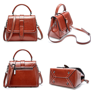 Image 3 - Zency Retro Brown Women Tote Handbag 100% Genuine Leather Daily Casual Shopping Messenger Shoulder Bag Luxury Dark Red Black