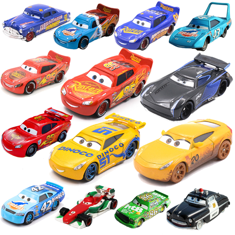 Disney Pixar Cars 2 3 Lightning McQueen Mater Jackson Storm Ramirez 1:55 Diecast Metal Alloy Model Toy Mc Queen Car Gift for Kid