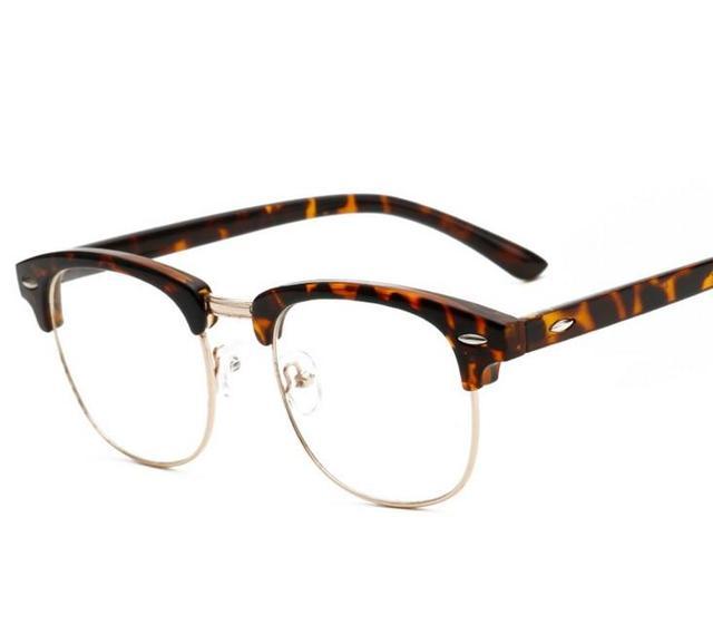 CHUN J47 Fashion Vintage Retro Leopard Frame Plain Glasses Men Women ...