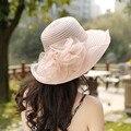 Playa sombreros de sun del Casquillo de las mujeres 2017 de Moda de Verano de flores De Gasa empalme Sombreros de Sun Señoras Ocasionales Retro bowknot sombrero de paja Para niñas