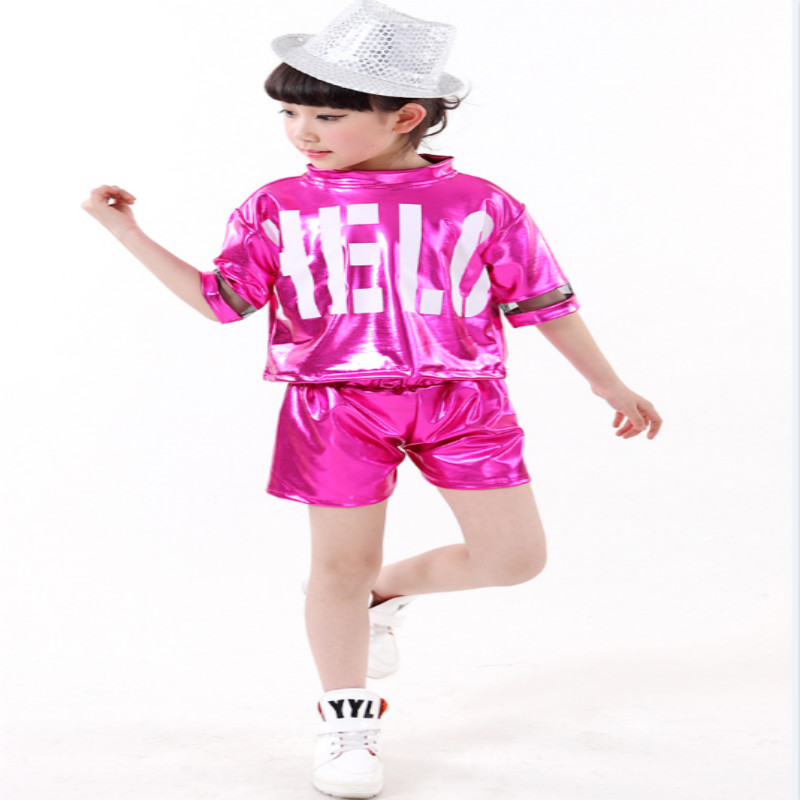 2017 new girls costumes sets Jazz hip-hop dance modern sequins International Children's Day performance for stage suits 110-160