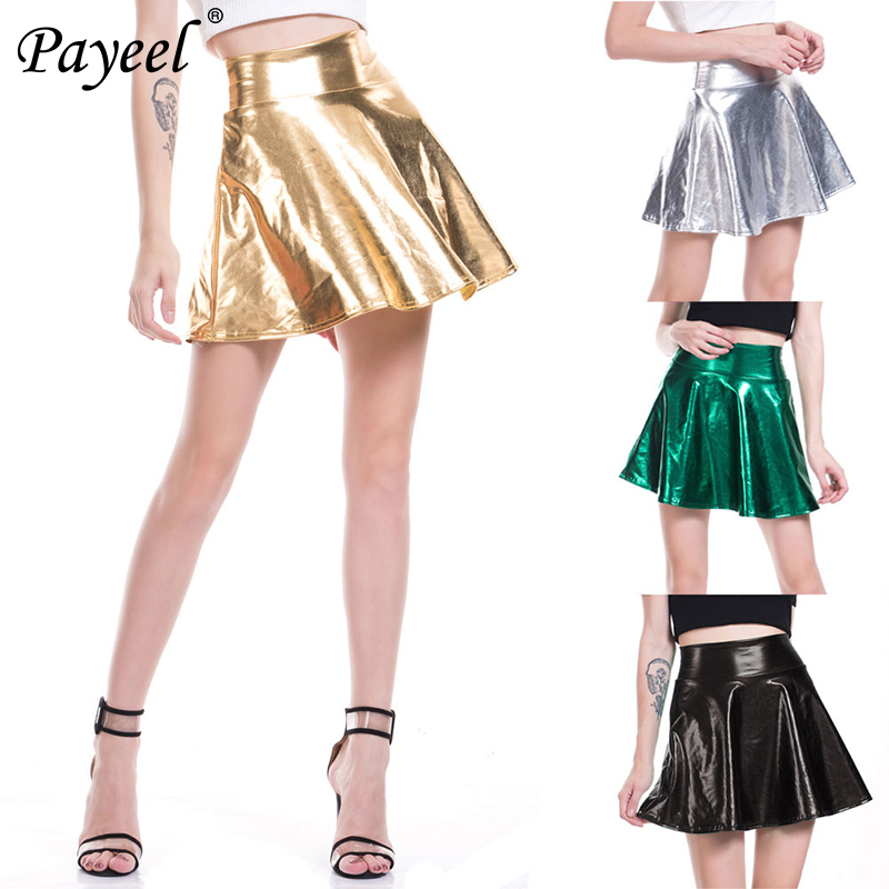 Womens Mini Skirt High Elastic Waist Flared Pleated Summer Skirts For Women Fashion 2019 Woman Shiny Halloween Cosplay Ladies in Skirts from Women 39 s Clothing