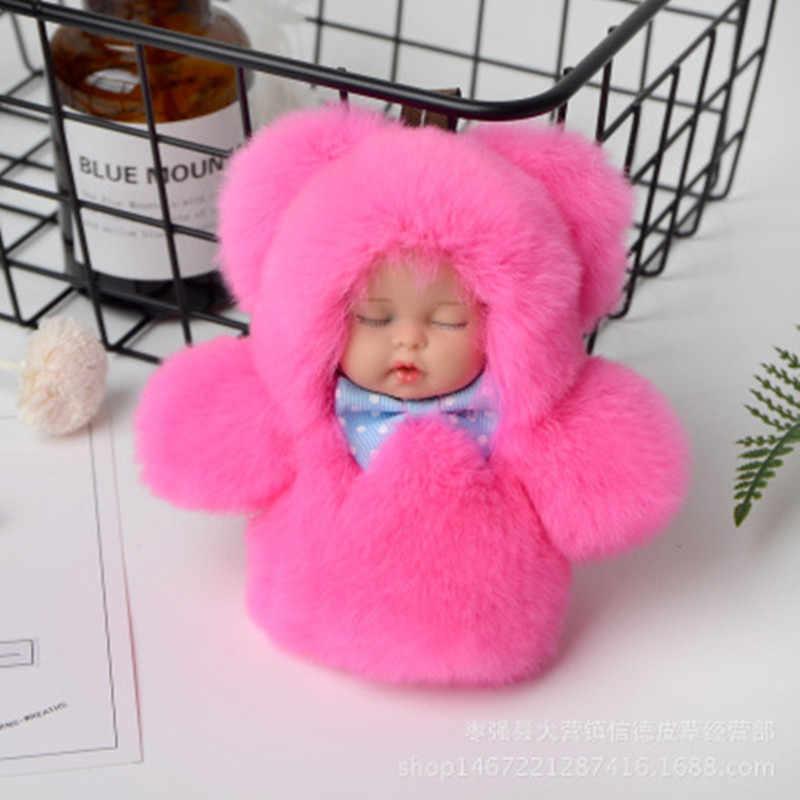 11 centímetros Bonito do Sono Do Bebê Boneca Chaveiro Real Rex Rabbit Fur Pom Pom Fofo Saco Chaveiro Carro Chaveiro Bugiganga mulheres Presente YS013