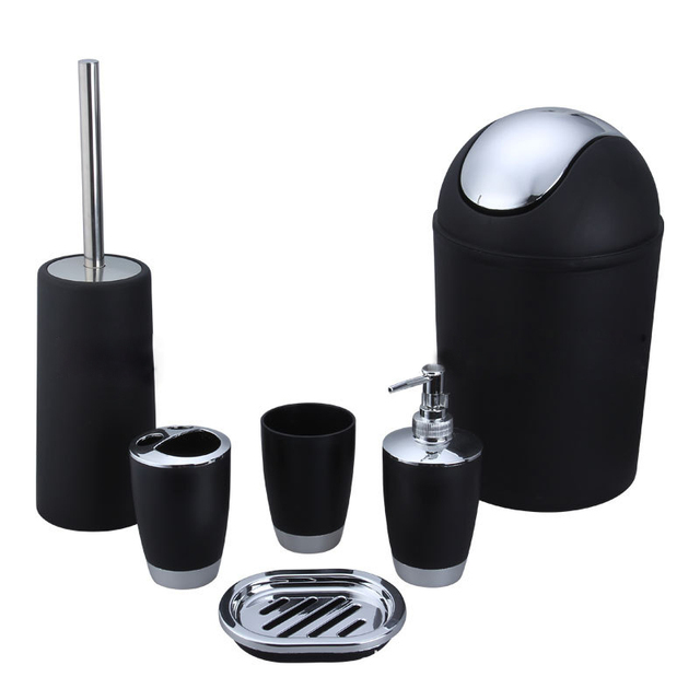 2017 New Arrival 6 Piece Plastic Bath Accessory Bathroom Set, Toilet Brush  Set   Black Gallery