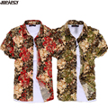 Плюс размер мужчины цветочный гавайская рубашка мода 2017 лето коротким рукавом фланелевые рубашки мужские повседневные платья camisa masculina MXB0032