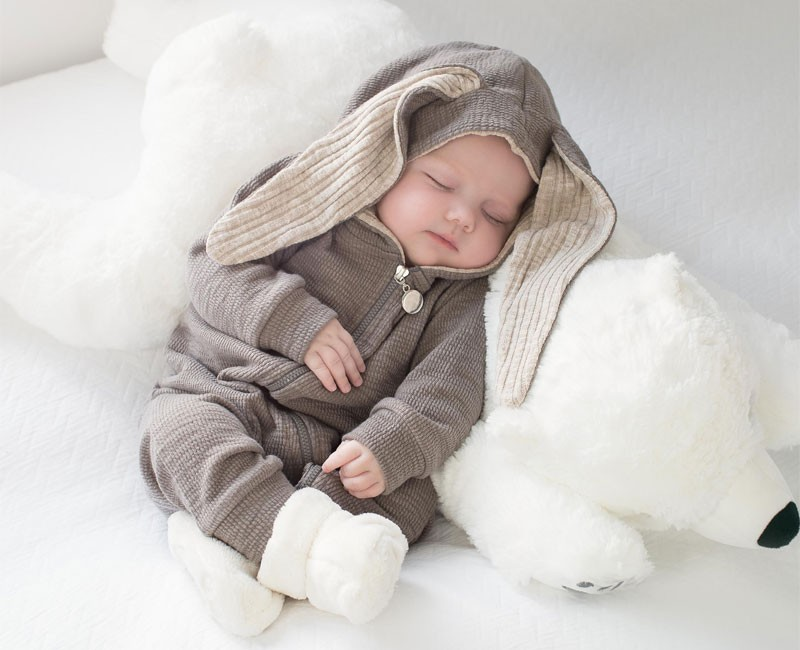 Little Baby Warm Bunny Ear Rompers Autumn Winter Infant Rabbit Style Jumpsuit Cotton Boys Girls Hare Playsuits Hooded Clothes