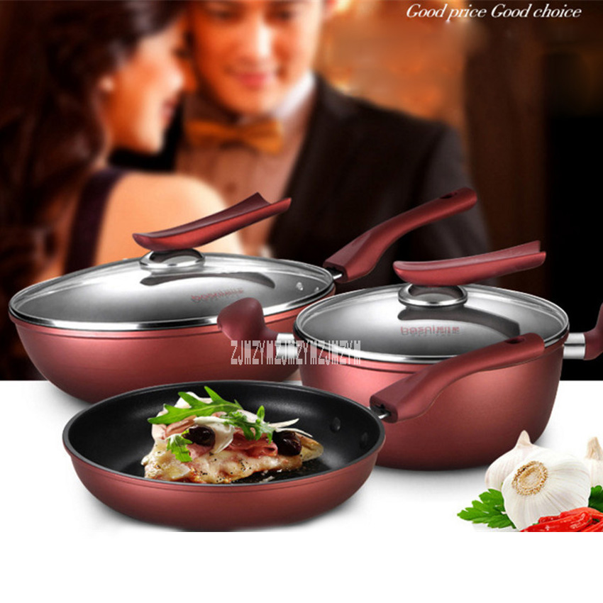 New Kitchen Non - Stick Pan Three - Piece Pot Sets BNS-78566 Induction Cooker Gas Cooking Pot Home Pot Set Combination Hot Sale