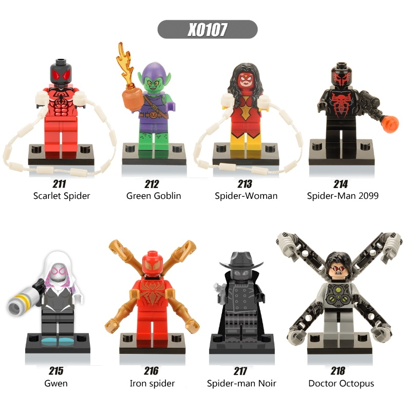 Single Sale Super Heroes Captain America Shadows Spiderman Woman Gwen Doctor Octopus Building Blocks Children Gift Toys X0107