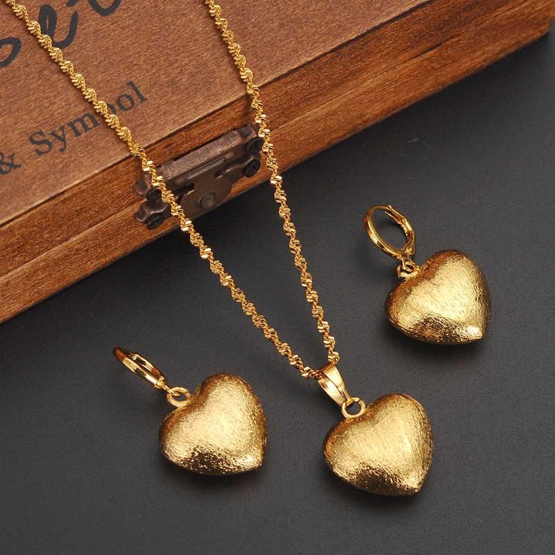 الذهب دبي الهند القلب الأفريقي مجوهرات مجموعة قلادة قلادة أقراط إثيوبيا الزفاف bridl مجموعات مجوهرات للنساء فتاة الهدايا