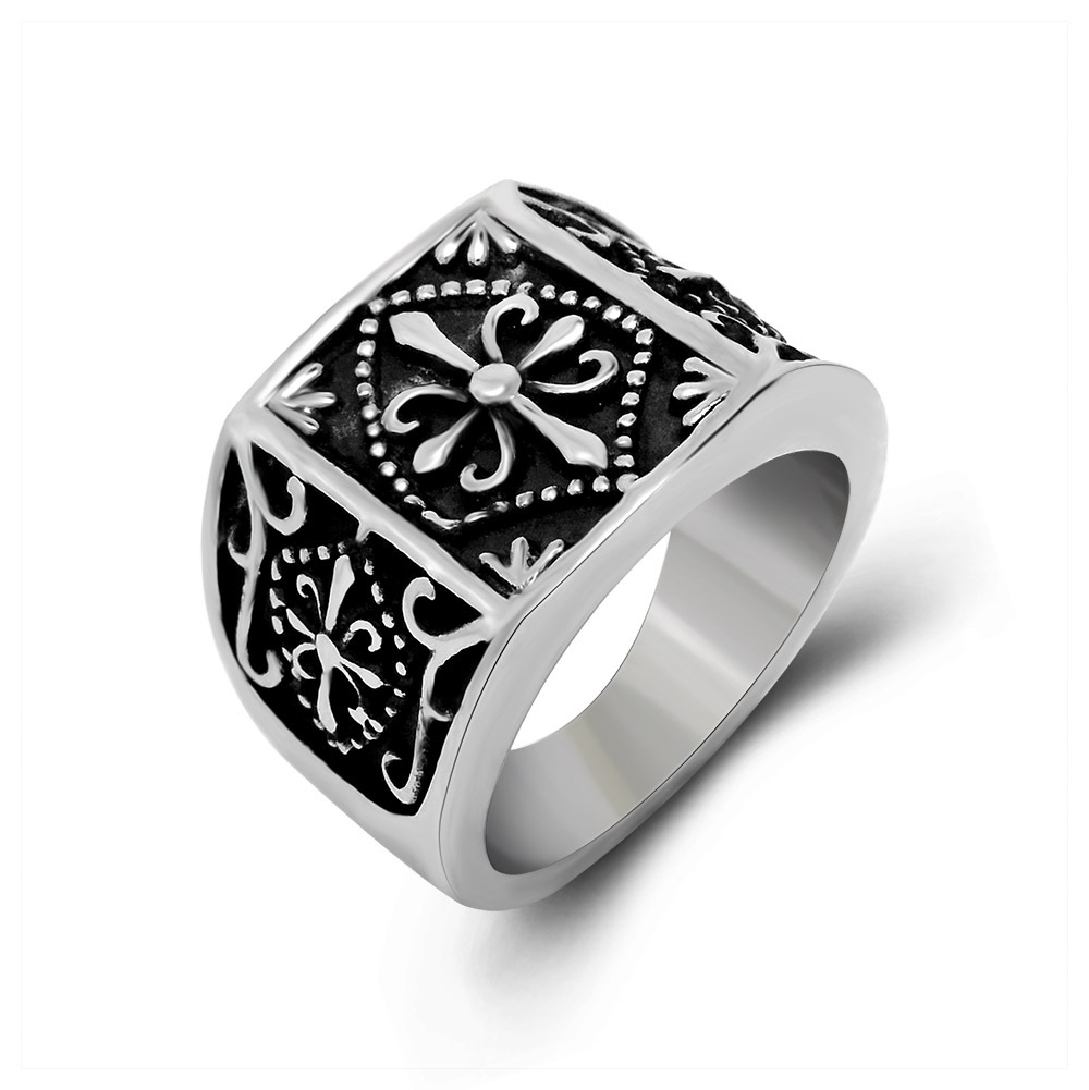 Wholesale Vintage Retro Cross Flower Ring Stainless Steel Cool Simple Men Ring Top Quality Fashion Jewelry