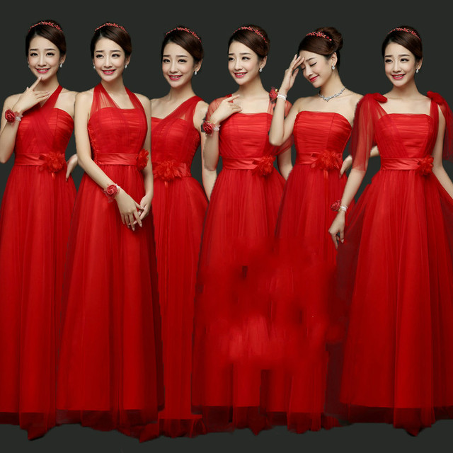Sweet Memory Pink Long red Bridesmaid dresses sister graduation party dress  Promotional Price SW0050-28 8330b390b4cb