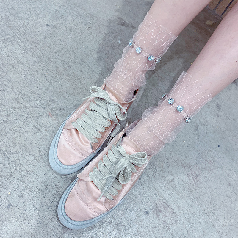 SP&CITY Spring Rhinestone Luxury Transparent Short   Socks   Net Hollow Out Lace Harajuku Women   Socks   Hipster Summer Ankle   Sock