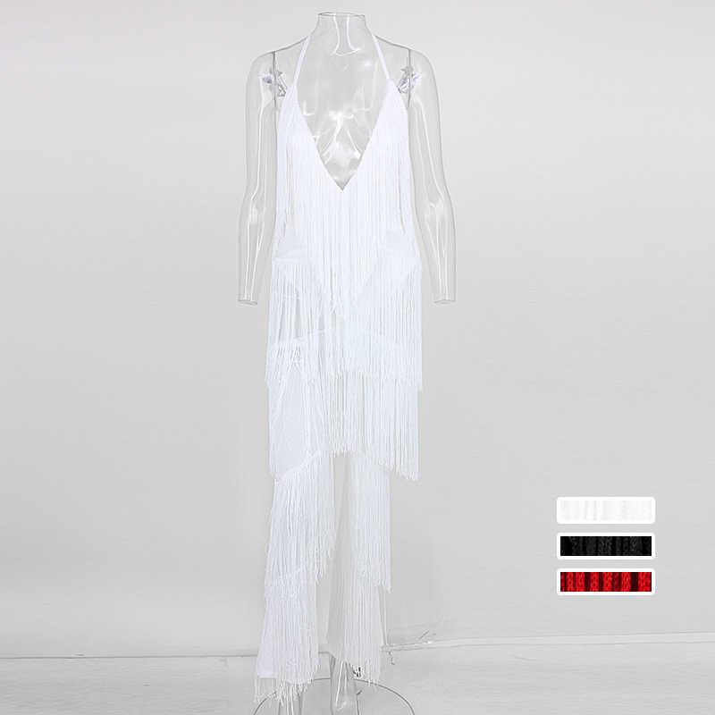e36fa89e180 ... Yissang rompers Womens Jumpsuit Tassel Sexy solid white Jumpsuit  Playsuit Long Deep V Neck Club Wear