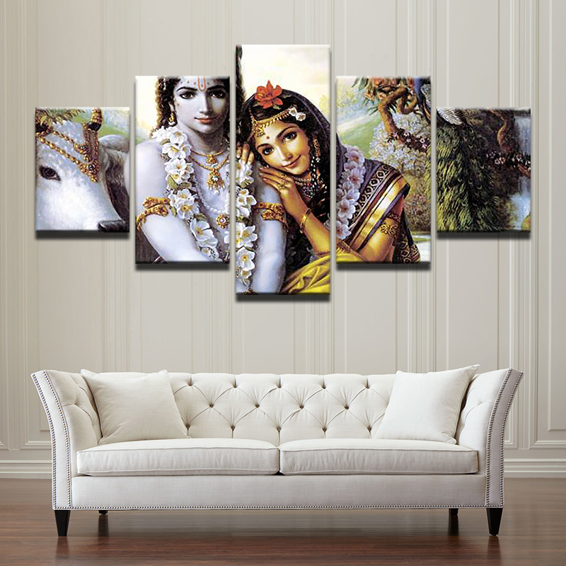 5 Stcke Indien Mythos Krishna HD Qualitt Leinwand Lgemlde Fr Moderne Hauptdekoration Wohnzimmer Modulare Kunstwerke Wand