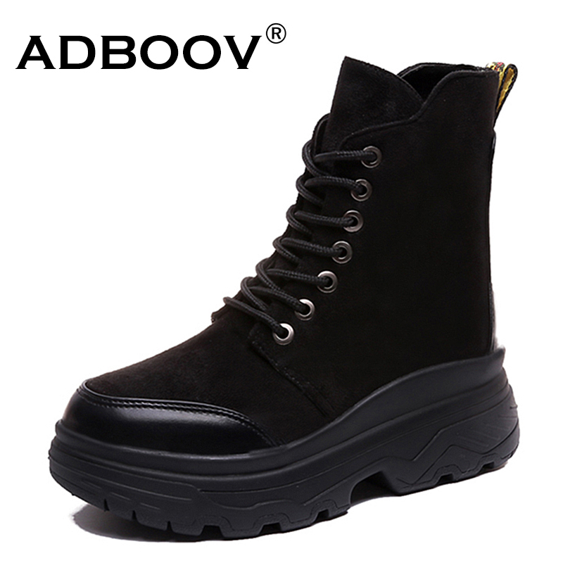 ADBOOV redonda dedo del pie mujeres botas de tobillo negro botas de combate militares invierno plataforma zapatos mujer señoras botines Bottes Femme