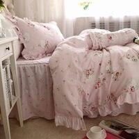 New Sweet pink LOVE bedding set rustic ruffle duvet cover print quilt cover elegant wrinkle bed sheet bedspread princess bedding