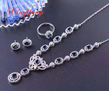925 silver inlaid natural sapphire jewelry suit ring earrings necklace lady wedding gift Precious stones