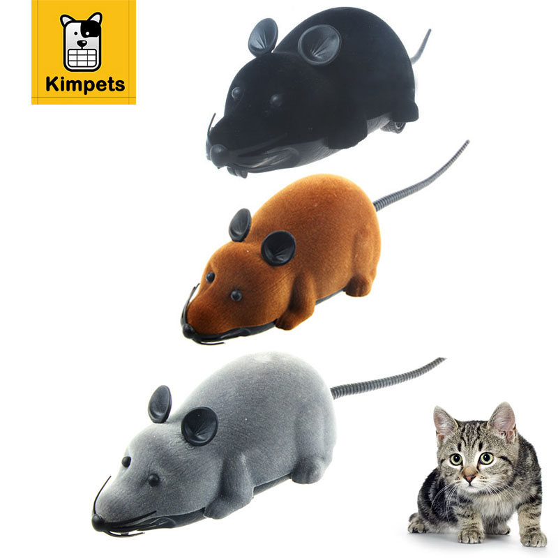 KIMHOME PET Cat Toy Remote Control Simulation Plush Mouse Mice Nylon Fabric Moving Inter ...
