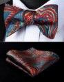 Партия Карманный Площадь Классические Свадебные BP930BS Бордовый Голубой Пейсли Боути Мужчины Шелка Самостоятельная Галстук-Бабочку платок набор