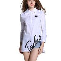 Ladies White Blouse Peter Pan Collar Novelty Notch Embroidered Blouse Pullover Blouse Blusas Camisas Femininas Manga