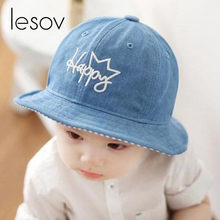 eaad439022e Lesov Kids Summer Hat Boys Girls Cotton Bucket Hat For Children Sun Hats  Letter   Crown   Dogs Pattern Casual Dome Fisherman Cap