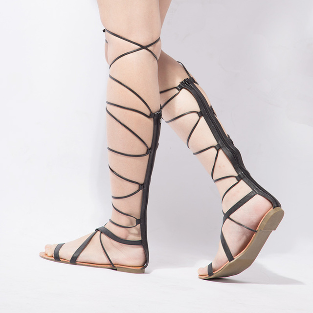 Women's Sexy Lace Up Knee High Gladiator Sandals