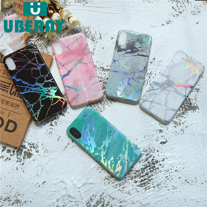 UBERAY Luxury Case For iphone X Laser Marble TPU Cover For iphone 7 8 plus Hot Selling For iphone 6 6s plus Phone Case Accessory