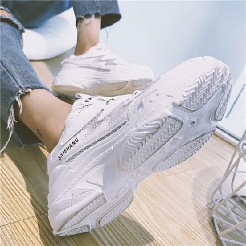 Coréenne Nouvelle D'été Mode 2018 Fond Épais Respirant La Été Argent Version Maille blanc Vieux Harajuku Sauvage Casual De Femmes Chaussures xwYcT5qPYC
