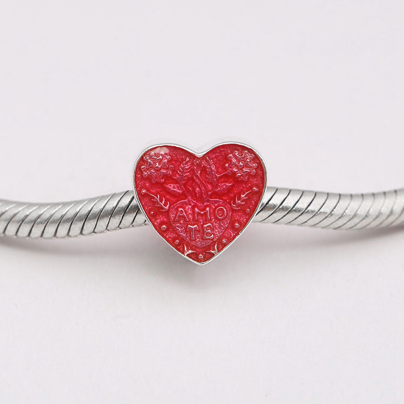 Strict 925 Sterling Silver Charms Bead Red Heart Diy Beads For Original Pandora 925 Sterling Silver Bracelets Bangles Xcy048 Jewelry & Accessories Beads