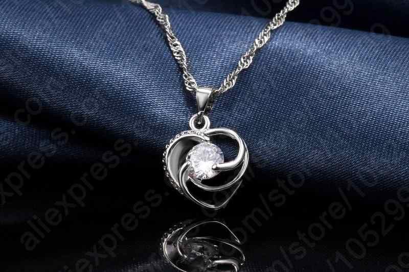 Neue Förderung Enagagement/Hochzeit Schmuck Set 100% 925 Sterling Silber Herz Anhänger Halskette/Ohrringe Sets Großhandel