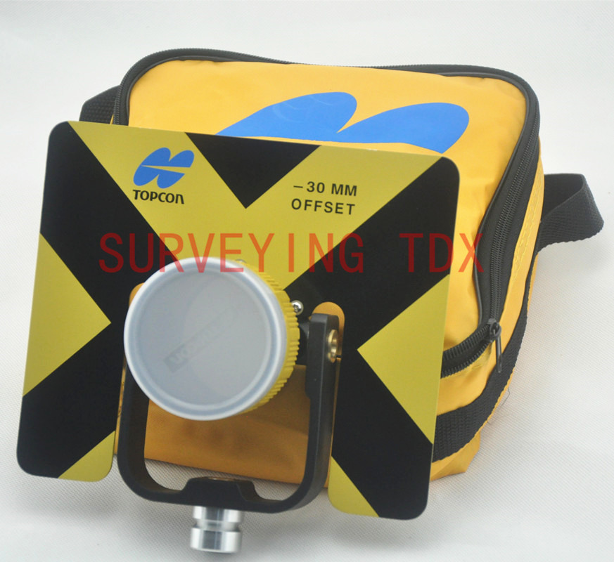 NEW Yellow Single Prism for Topcon total stations Surveying 5/8x11 female thread Constant -30/0mm w/Bag metal holder target