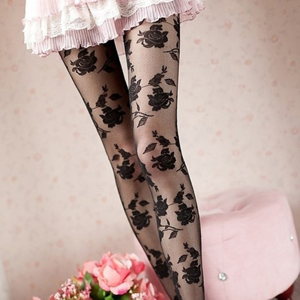 Sexy Rose Panty Vrouwen Collant Femme Dunne Sheer Panty Holle Tattoo Panty Collant Femme Medias Fantaisie Beenmode