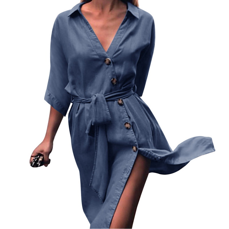 Laamei Women Autumn V-neck Denim Shirt Dress Half Sleeve with Sashes Office Lady Dresses Button Denim Dresses Plus Size 2020