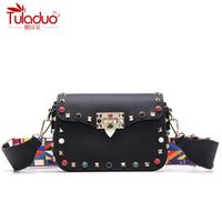 High Quality PU Leather Women Messenger Bags Fashion Color Rivet Design Women Shoulder Bags Color Shoulder