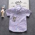 INMUSION crianças camisa do verão 2017 moda de luxo famosa marca clássico listrado menino camisa de manga curta de alta qualidade 2-7 anos