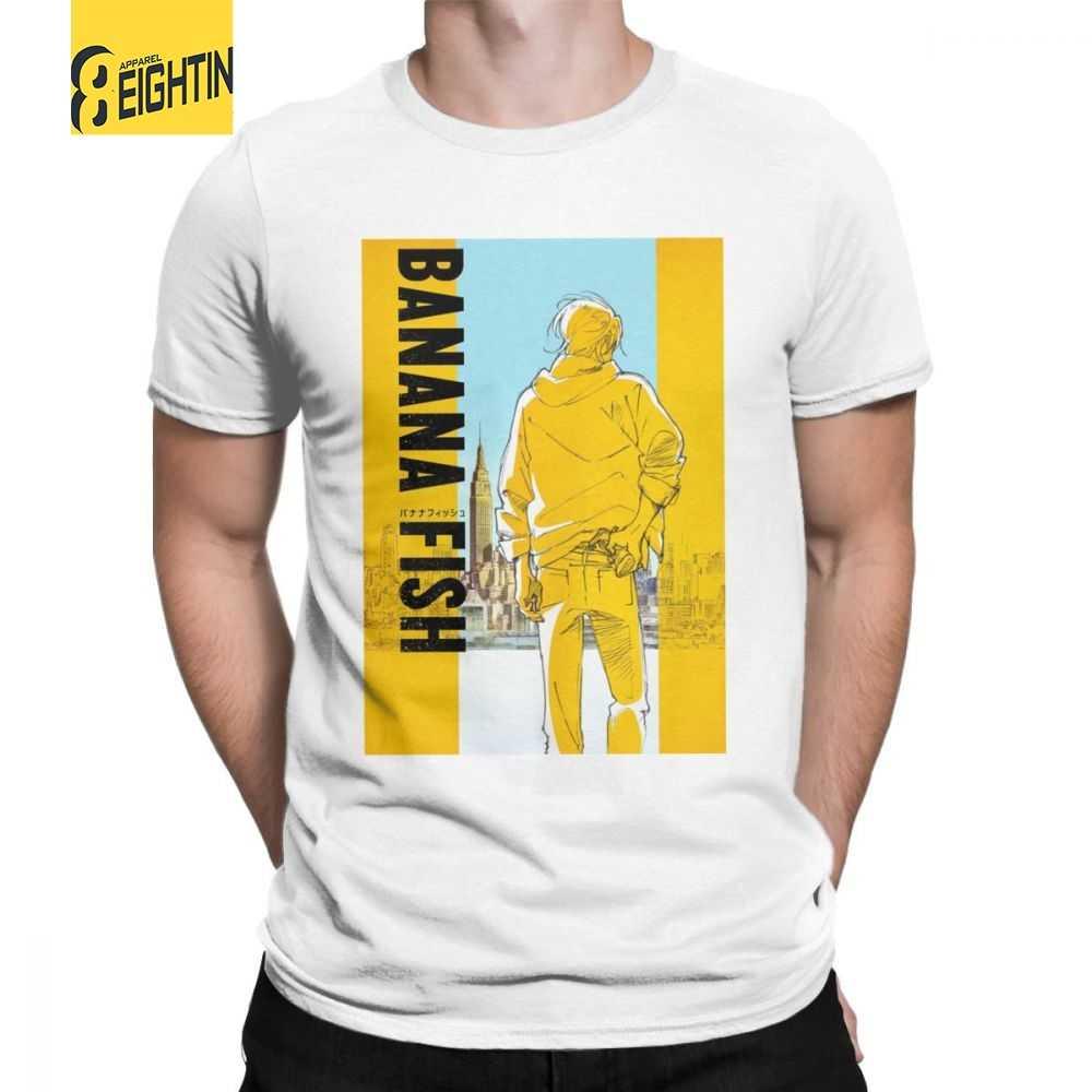 Mann T Shirt Banana Fisch T-Shirt Anime Japanischen Verbrechen Asche Eiji Comic Manga Freizeit Kurzen Ärmeln T Shirt O neck Tops Baumwolle